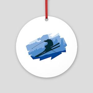 Ski Jumper Ornament (Round)