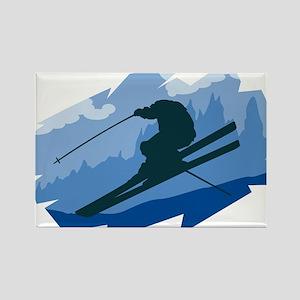 Ski Jumper Rectangle Magnet