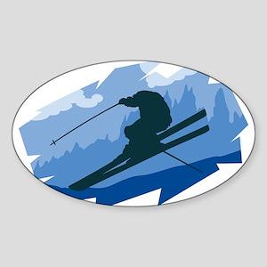 Ski Jumper Oval Sticker