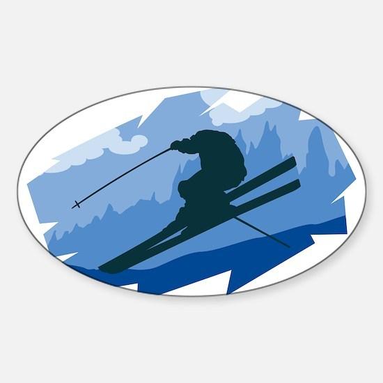 Ski Jumper Oval Decal