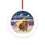 Xmas Star - Brown Guinea Pig Round Ornament