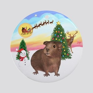 The Take Off -brown Guinea Pig Ornament (Round)