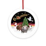 Night Flight & 3 Guinea Pigs Ornament (Round)