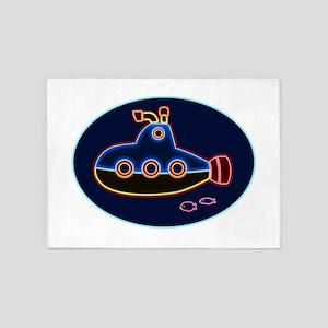 Neon Submarine and Fish 5'x7'Area Rug