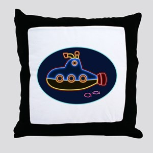 Neon Submarine and Fish Throw Pillow