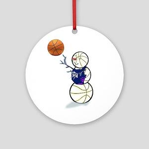Basketball Snowman Ornament (Round)