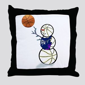 Basketball Snowman Throw Pillow