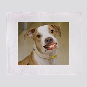 Pit Bull with Lipstick Throw Blanket