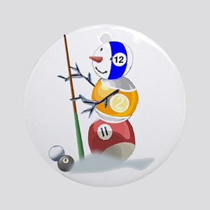 Billiards Cue Ball Snowman Ornament (Round)