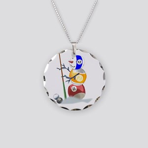 Billiards Cue Ball Snowman Necklace Circle Charm