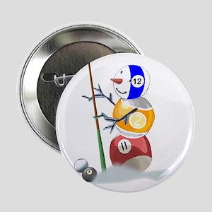 "Billiards Cue Ball Snowman 2.25"" Button (10 pack)"