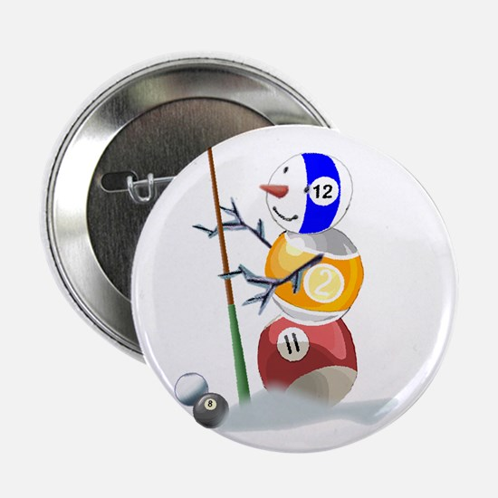 "Billiards Cue Ball Snowman 2.25"" Button (10 pack)"