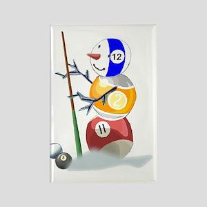 Billiards Cue Ball Snowman Rectangle Magnet (10 pa