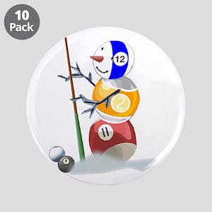"Billiards Cue Ball Snowman 3.5"" Button (10 pack)"