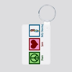 Peace Love Belly Dancing Aluminum Photo Keychain