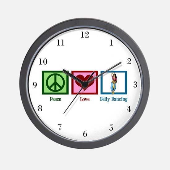Peace Love Belly Dancing Wall Clock
