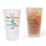 Love And Do As You Will Drinking Glass