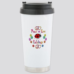 Peace Love Ladybugs Stainless Steel Travel Mug