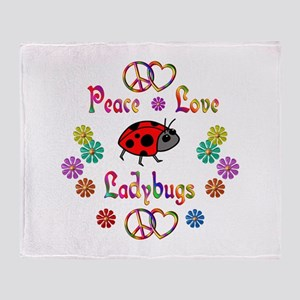 Peace Love Ladybugs Throw Blanket