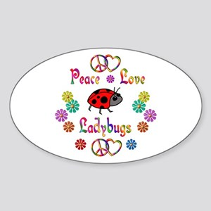 Peace Love Ladybugs Sticker (Oval)