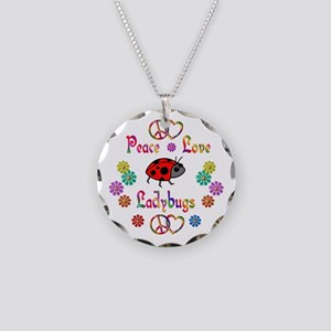 Peace Love Ladybugs Necklace Circle Charm