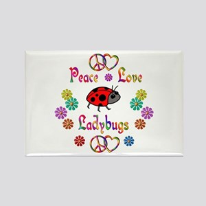 Peace Love Ladybugs Rectangle Magnet