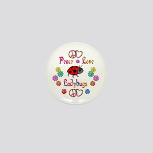 Peace Love Ladybugs Mini Button