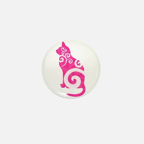 Swirly Cat Pink Mini Button