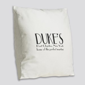 Black DUKE Martini Burlap Throw Pillow