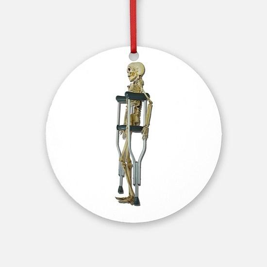 Skeleton on Crutches Ornament (Round)