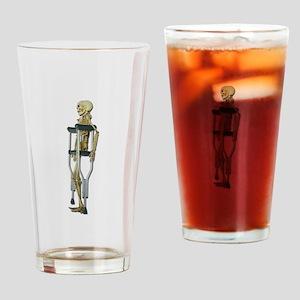 Skeleton on Crutches Drinking Glass