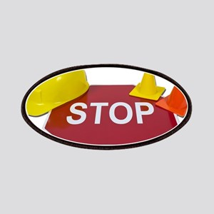 Stop Sign Hard Hat Safety Con Patches