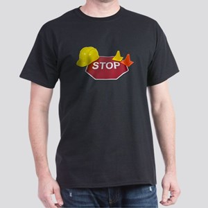 Stop Sign Hard Hat Safety Con Dark T-Shirt