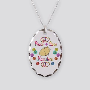 Peace Love Hamsters Necklace Oval Charm