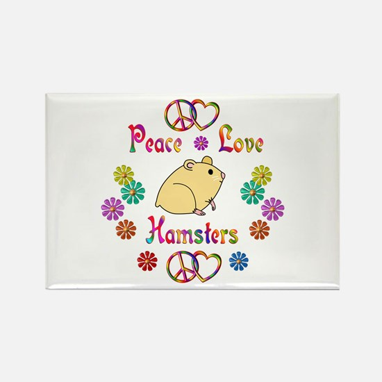 Peace Love Hamsters Rectangle Magnet