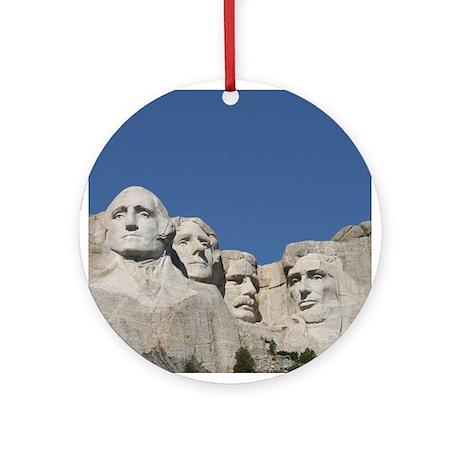 Mt. Rushmore Christmas Ornament (Round)