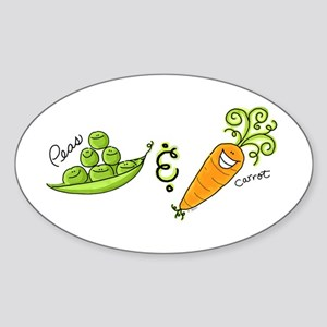 Peas and Carrot Oval Sticker