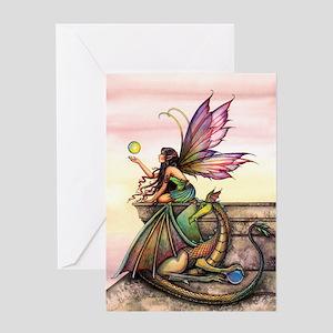 Dragon's Orbs Fairy and Dragon Art Greeting Card