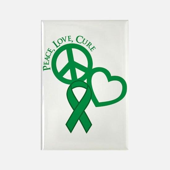Peace, Love, Cure Rectangle Magnet