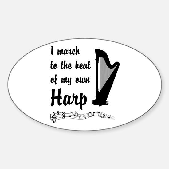 March to the Beat: Harp Sticker (Oval)