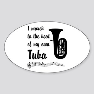 March to the Beat: Tuba Sticker (Oval)