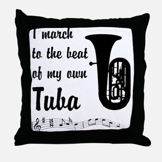 March to the Beat: Tuba Throw Pillow