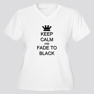Keep Calm Fade to Black Women's Plus Size V-Neck T