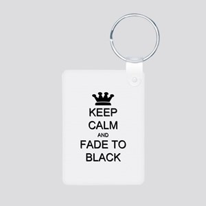 Keep Calm Fade to Black Aluminum Photo Keychain