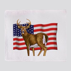 American White Tail Deer Buck Throw Blanket