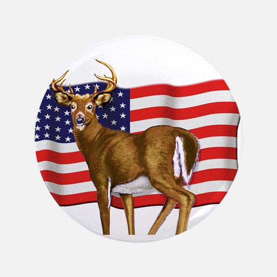 """American White Tail Deer Buck 3.5"""" Button"""