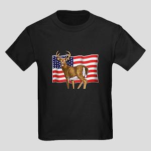 American White Tail Deer Buck Kids Dark T-Shirt