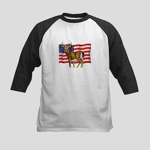 American White Tail Deer Buck Kids Baseball Jersey