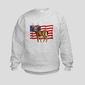 American White Tail Deer Buck Kids Sweatshirt