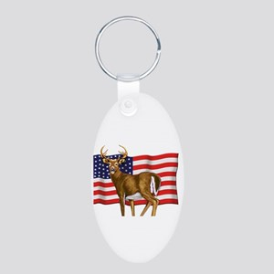 American White Tail Deer Buck Aluminum Oval Keycha